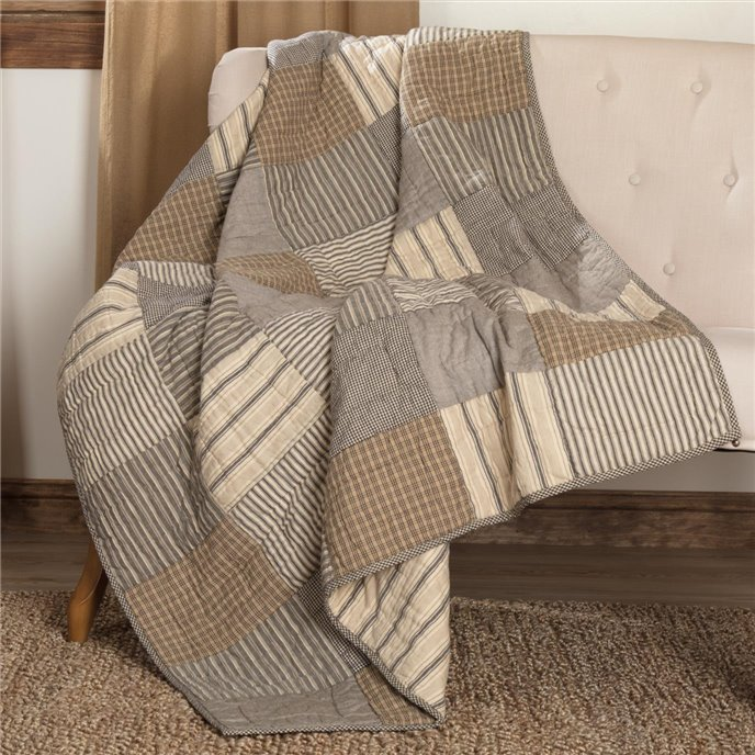 Sawyer Mill Charcoal Block Quilted Throw 60x50 Thumbnail
