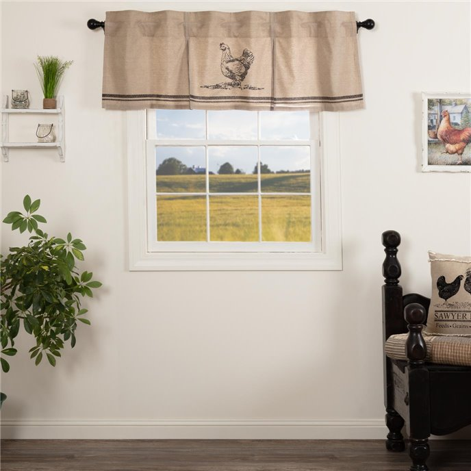 Sawyer Mill Charcoal Chicken Valance Pleated 20x60 Thumbnail