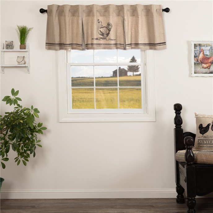 Sawyer Mill Charcoal Chicken Valance Pleated 20x72 Thumbnail
