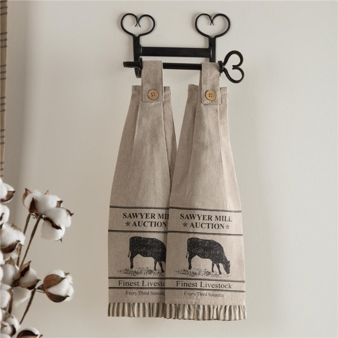 Sawyer Mill Charcoal Cow Button Loop Kitchen Towel Set of 2 Thumbnail