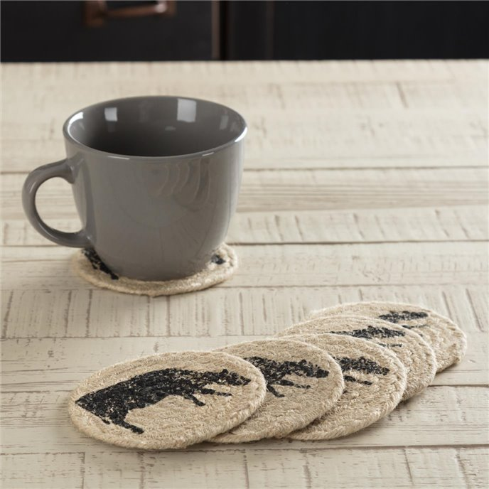 Sawyer Mill Charcoal Cow Jute Coaster Set of 6 Thumbnail