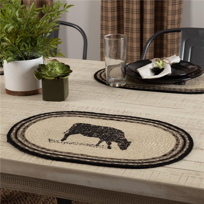 Sawyer Mill Charcoal Cow Jute Placemat Set of 6 12x18 Thumbnail