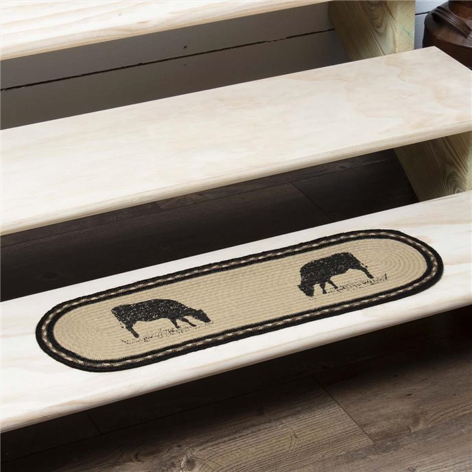 Sawyer Mill Charcoal Cow Jute Stair Tread Oval Latex 8.5x27 Thumbnail