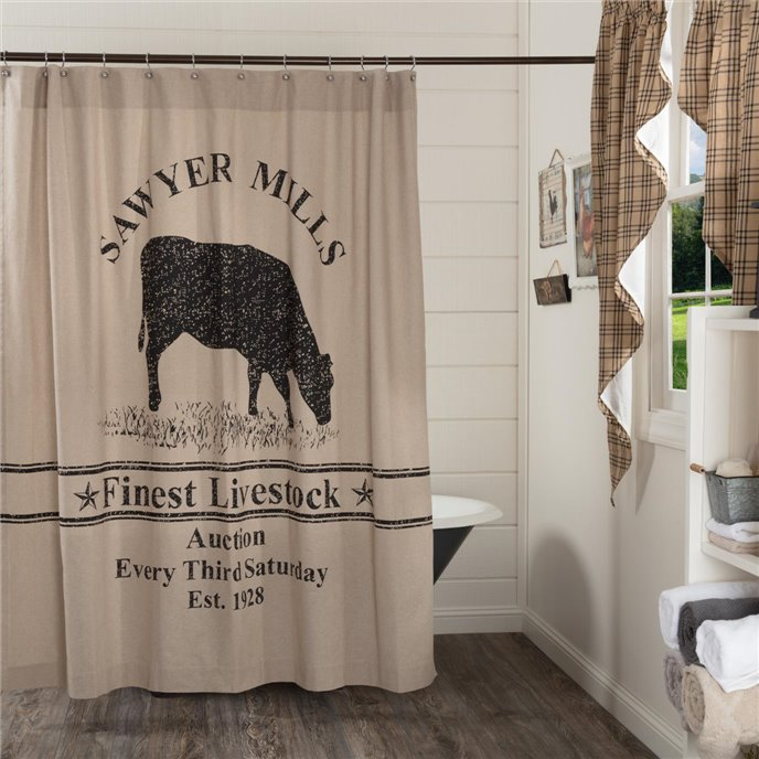 Sawyer Mill Charcoal Cow Shower Curtain 72x72 Thumbnail