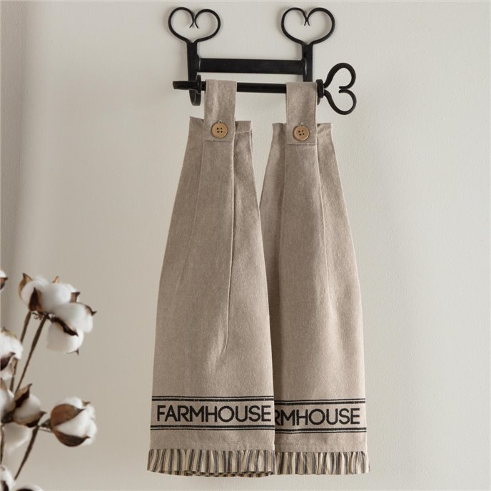 Sawyer Mill Charcoal Farmhouse Button Loop Kitchen Towel Set of 2 Thumbnail