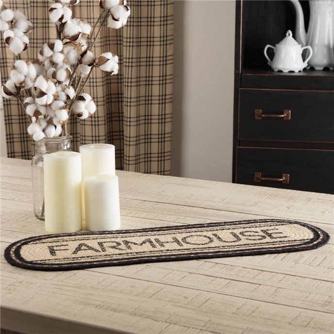Sawyer Mill Charcoal Farmhouse Jute Oval Runner 8x24 Thumbnail