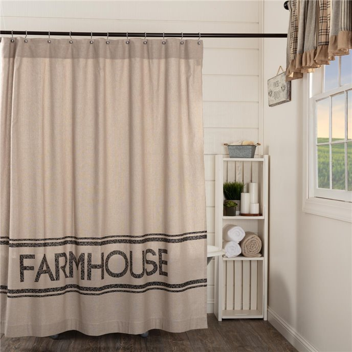 Sawyer Mill Charcoal Farmhouse Shower Curtain 72x72 Thumbnail