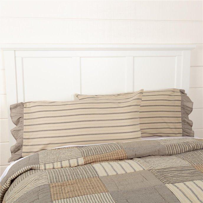 Sawyer Mill Charcoal Stripe Ruffled King Pillow Case Set of 2 21x40 Thumbnail