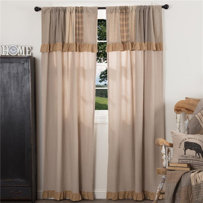 Sawyer Mill Charcoal Panel with Attached Patchwork Valance Set of 2 84x40 Thumbnail