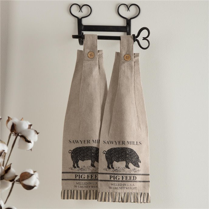 Sawyer Mill Charcoal Pig Button Loop Kitchen Towel Set of 2 Thumbnail