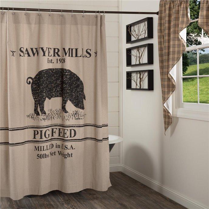 Sawyer Mill Charcoal Pig Shower Curtain 72x72 Thumbnail