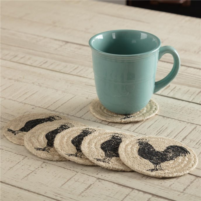 Sawyer Mill Charcoal Poultry Jute Coaster Set of 6 Thumbnail