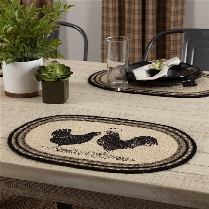 Sawyer Mill Charcoal Poultry Jute Placemat Set of 6 12x18 Thumbnail
