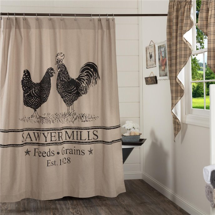 Sawyer Mill Charcoal Poultry Shower Curtain 72x72 Thumbnail