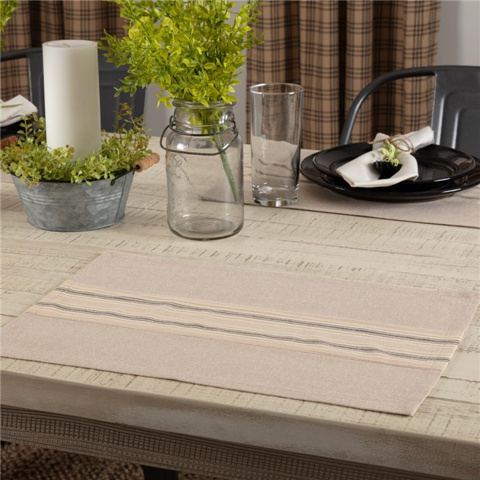 Sawyer Mill Charcoal Stripe Placemat Set of 6 12x18 Thumbnail