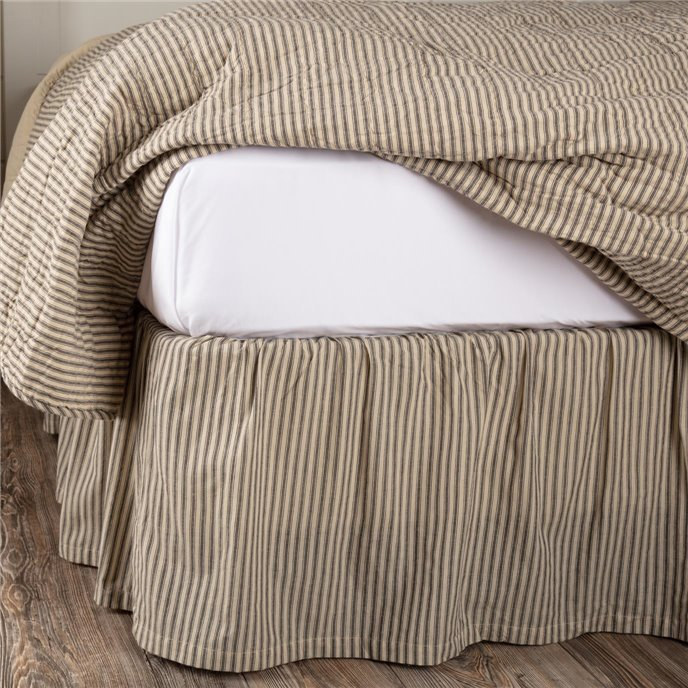 Sawyer Mill Charcoal Ticking Stripe King Bed Skirt 78x80x16 Thumbnail