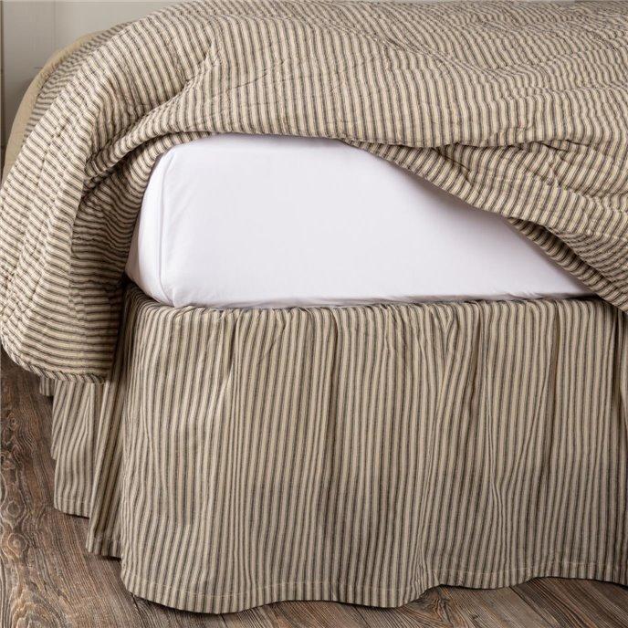 Sawyer Mill Charcoal Ticking Stripe Queen Bed Skirt 60x80x16 Thumbnail