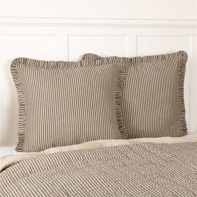 Sawyer Mill Charcoal Ticking Stripe Fabric Euro Sham 26x26 Thumbnail