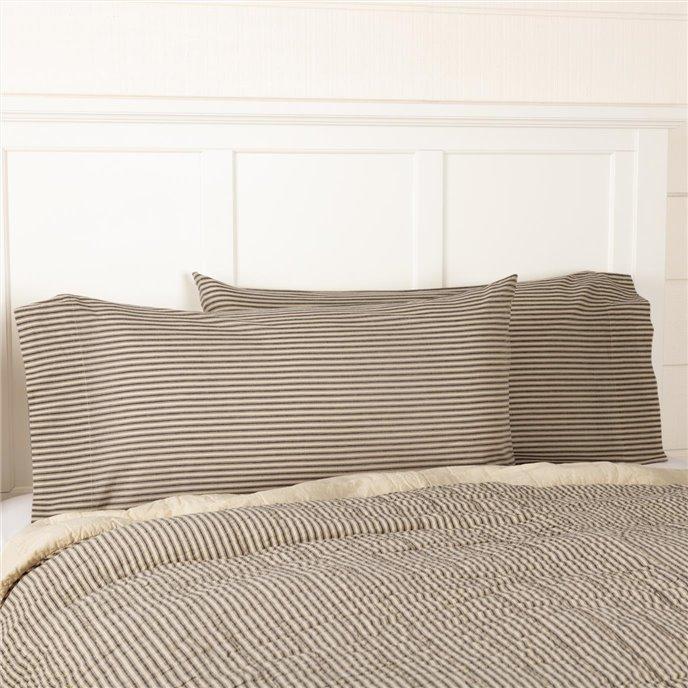 Sawyer Mill Charcoal Ticking Stripe King Pillow Case Set of 2 21x40 Thumbnail