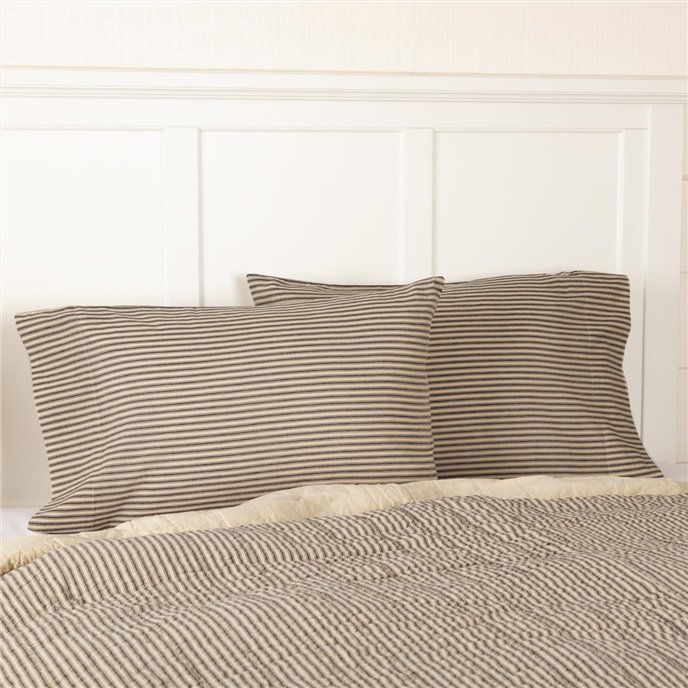 Sawyer Mill Charcoal Ticking Stripe Standard Pillow Case Set of 2 21x30 Thumbnail