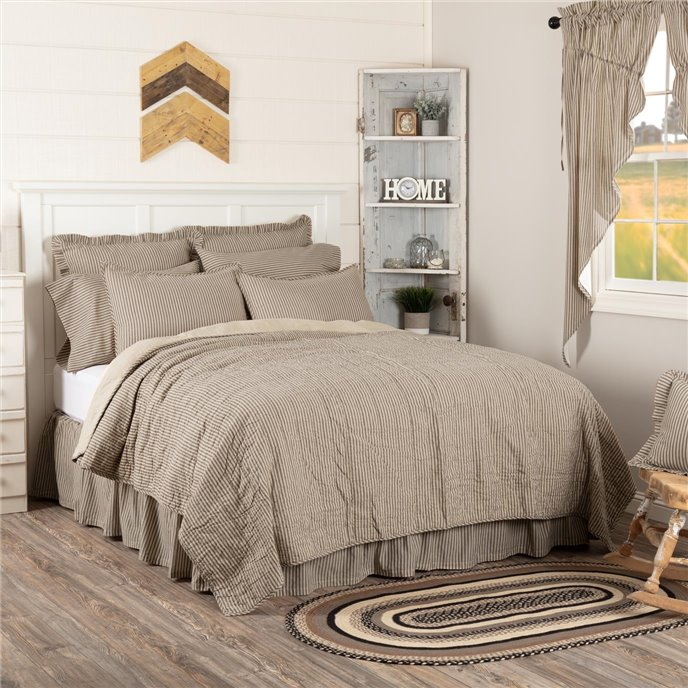 Sawyer Mill Charcoal Ticking Stripe Queen Quilt Coverlet 90Wx90L Thumbnail