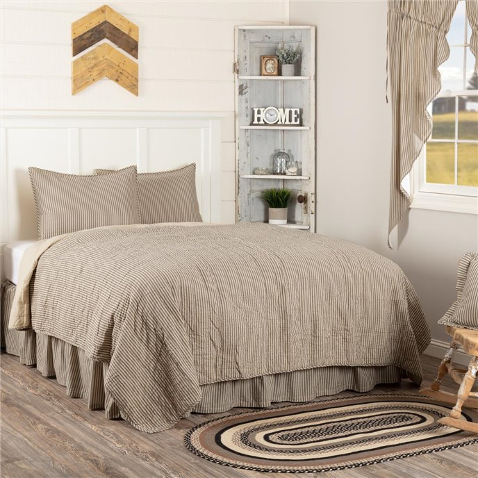 Sawyer Mill Charcoal Ticking Stripe King Quilt Set; 1-Quilt 105Wx95L w/2 Shams 21x37 Thumbnail