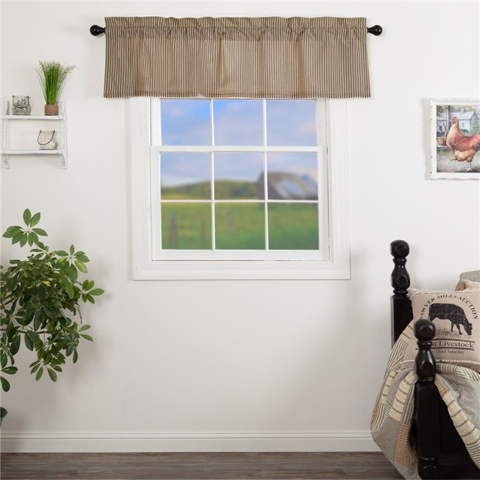 Sawyer Mill Charcoal Ticking Stripe Valance 16x60 Thumbnail