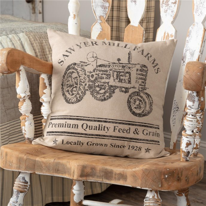 Sawyer Mill Charcoal Tractor Pillow 18x18 Thumbnail