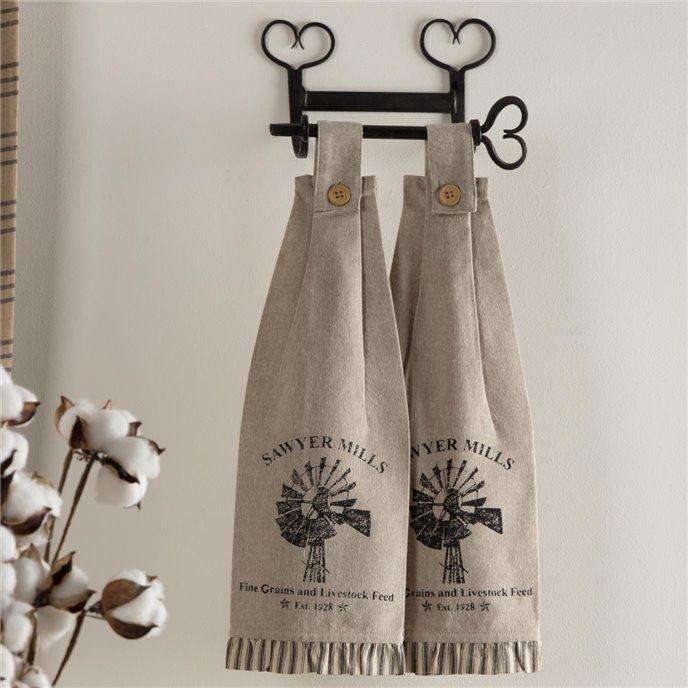 Sawyer Mill Charcoal Windmill Button Loop Kitchen Towel Set of 2 Thumbnail