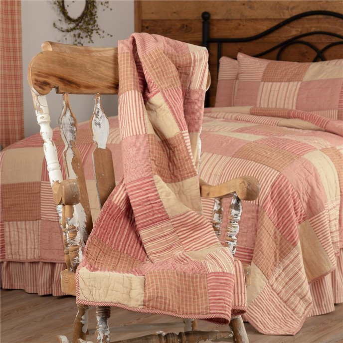 Sawyer Mill Red Block Quilted Throw 60x50 Thumbnail