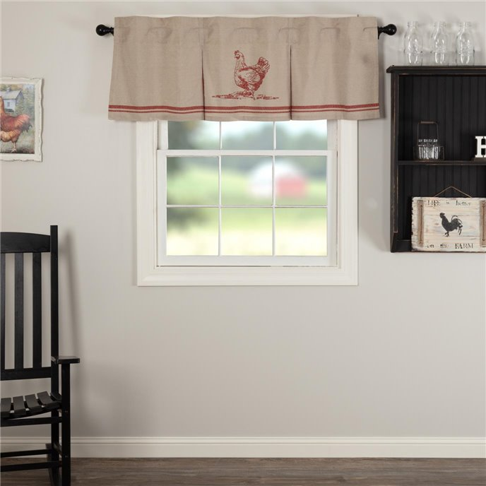 Sawyer Mill Red Chicken Valance Pleated 20x60 Thumbnail