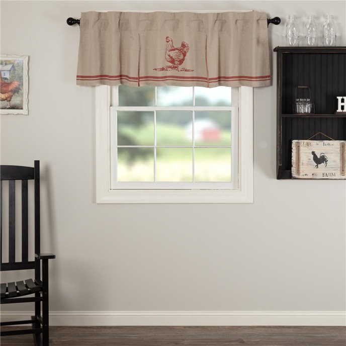 Sawyer Mill Red Chicken Valance Pleated 20x72 Thumbnail