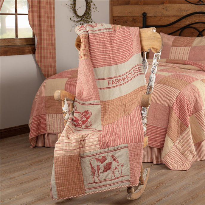 Sawyer Mill Red Farm Animal Quilted Throw 60x50 Thumbnail