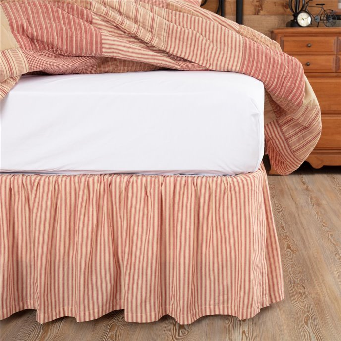 Sawyer Mill Red Ticking Stripe Queen Bed Skirt 60x80x16 Thumbnail