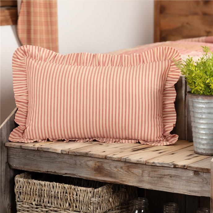 Sawyer Mill Red Ticking Stripe Fabric Pillow 14x22 Thumbnail