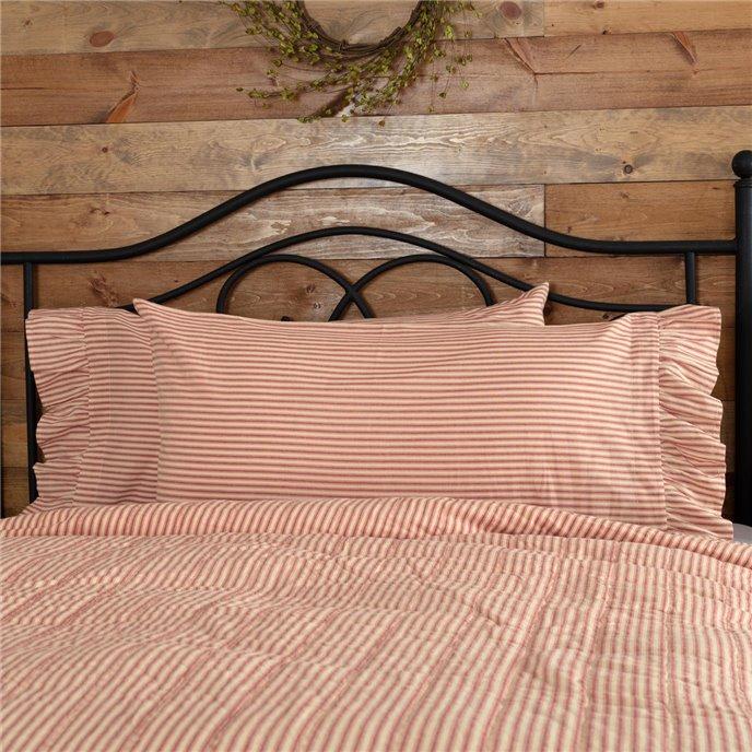 Sawyer Mill Red Ticking Stripe Ruffled King Pillow Case Set of 2 21x40 Thumbnail
