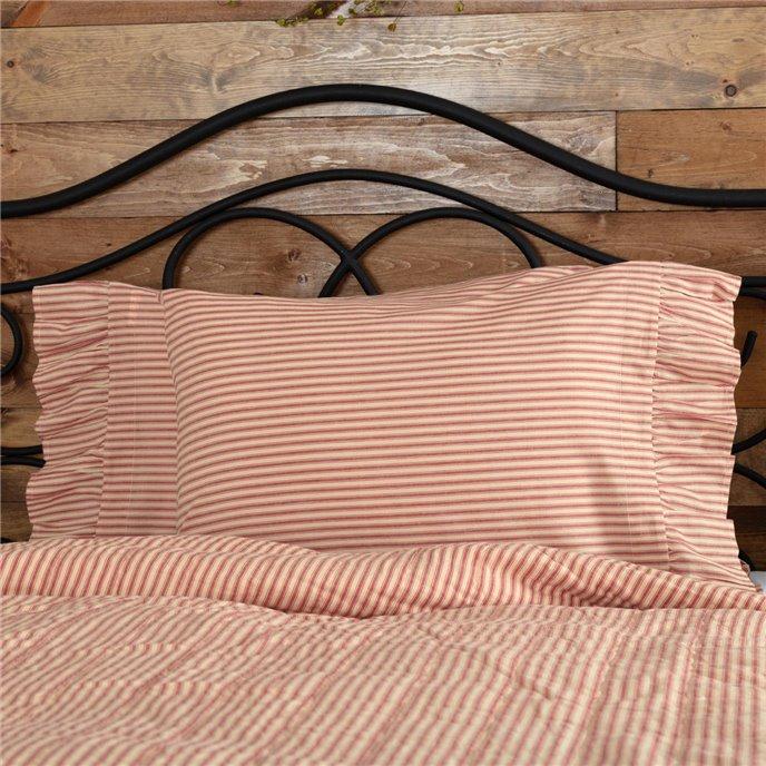 Sawyer Mill Red Ticking Stripe Standard Pillow Case Set of 2 21x30 Thumbnail