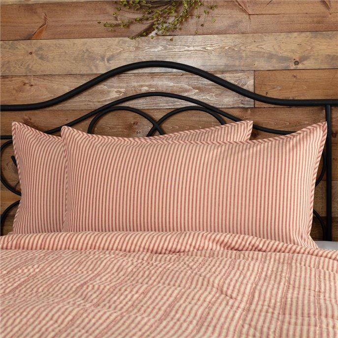 Sawyer Mill Red Ticking Stripe King Sham 21x37 Thumbnail