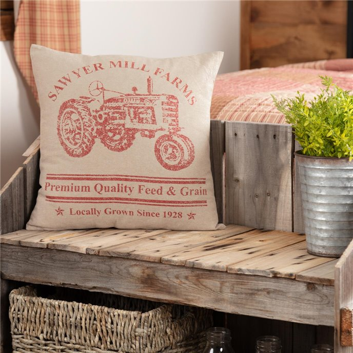 Sawyer Mill Red Tractor Pillow 18x18 Thumbnail