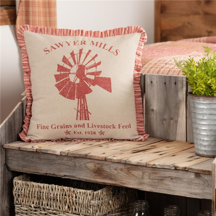 Sawyer Mill Red Windmill Pillow 18x18 Thumbnail