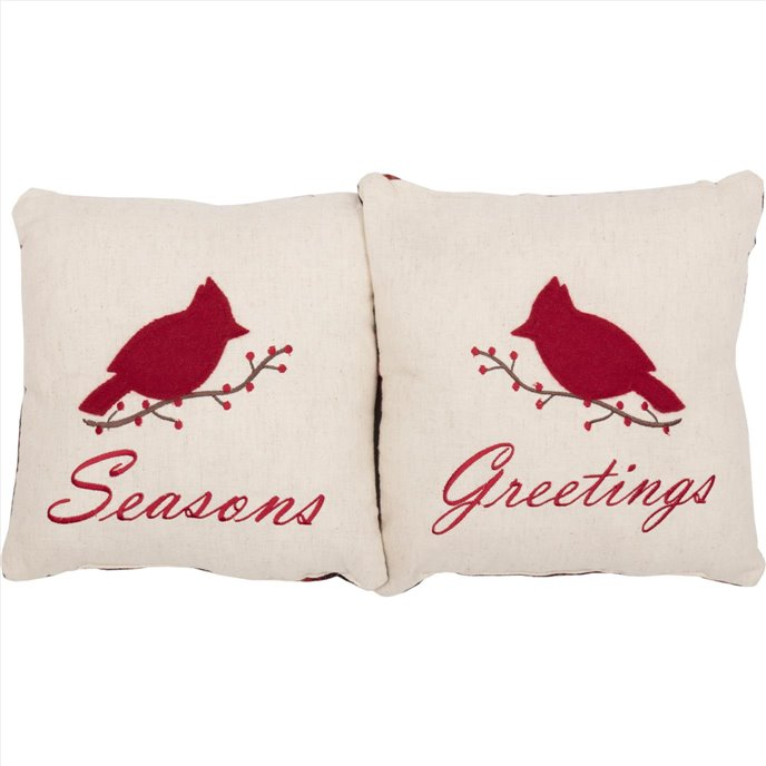 Seasons Greetings Pillow Set of 2 10x10 Thumbnail