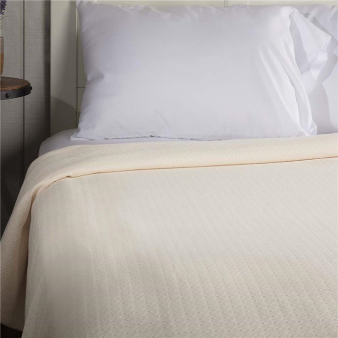 Serenity Creme Queen Cotton Woven Blanket 90x90 Thumbnail