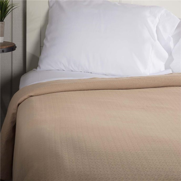 Serenity Tan Twin Cotton Woven Blanket 90x62 Thumbnail