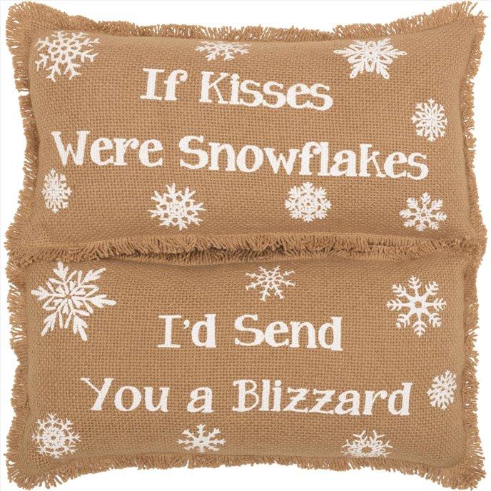 Snowflake Burlap Natural Pillow If Kisses..Snowflakes Set of 2 7x13 Thumbnail