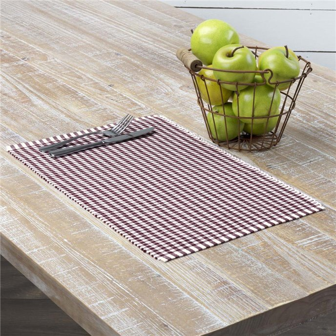 Tara Burgundy Ribbed Placemat Set of 6 12x18 Thumbnail