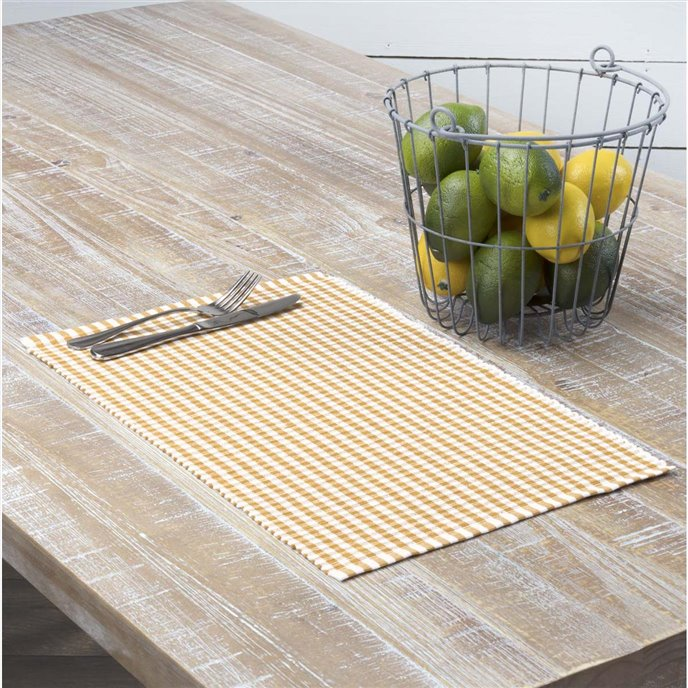Tara Gold Ribbed Placemat Set of 6 12x18 Thumbnail