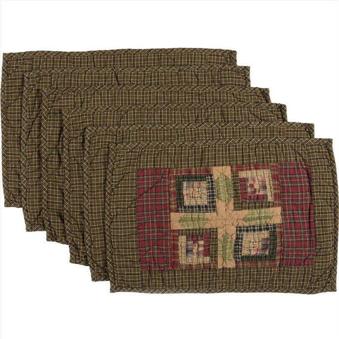 Tea Cabin Placemat Quilted Set of 6 12x18 Thumbnail