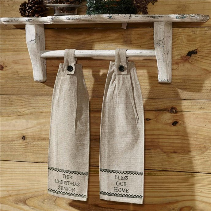 Timberland Christmas Button Loop Kitchen Towel Set of 2 Thumbnail