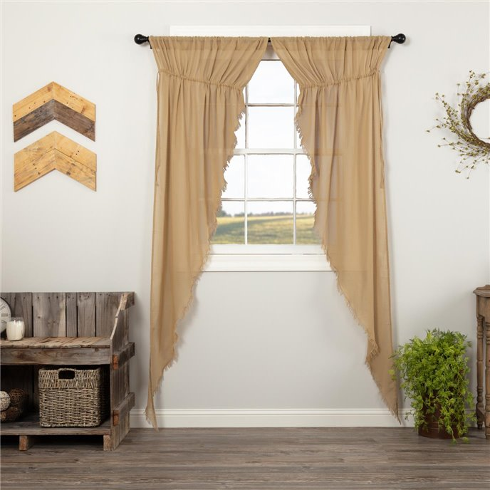 Tobacco Cloth Khaki Prairie Long Panel Fringed Set of 2 84x36x18 Thumbnail