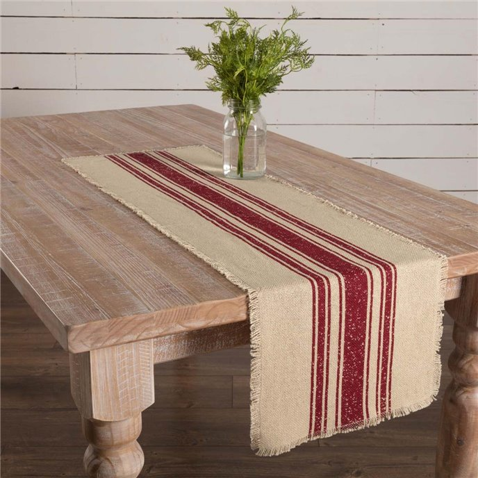 Vintage Burlap Stripe Red Runner 13x48 Thumbnail